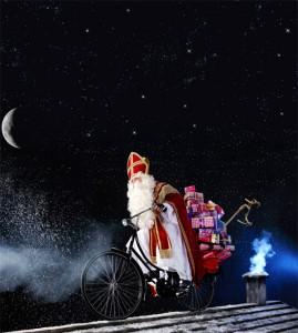 Sinterklaas op fiets