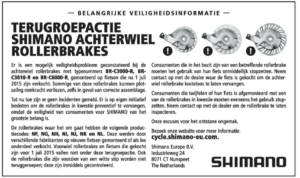 Shimano recall rollerbrakes