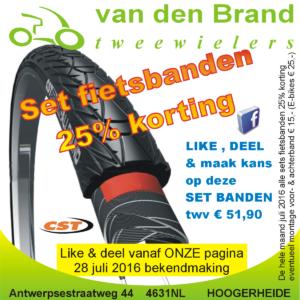2016 aktie juli gratis fietsbanden 25% korting